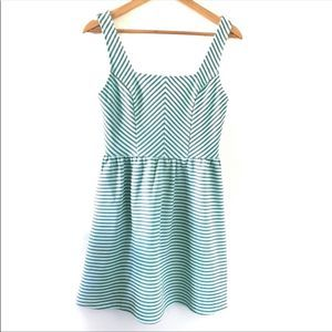 Francesca's Alya Teal Striped Skater Dress Small